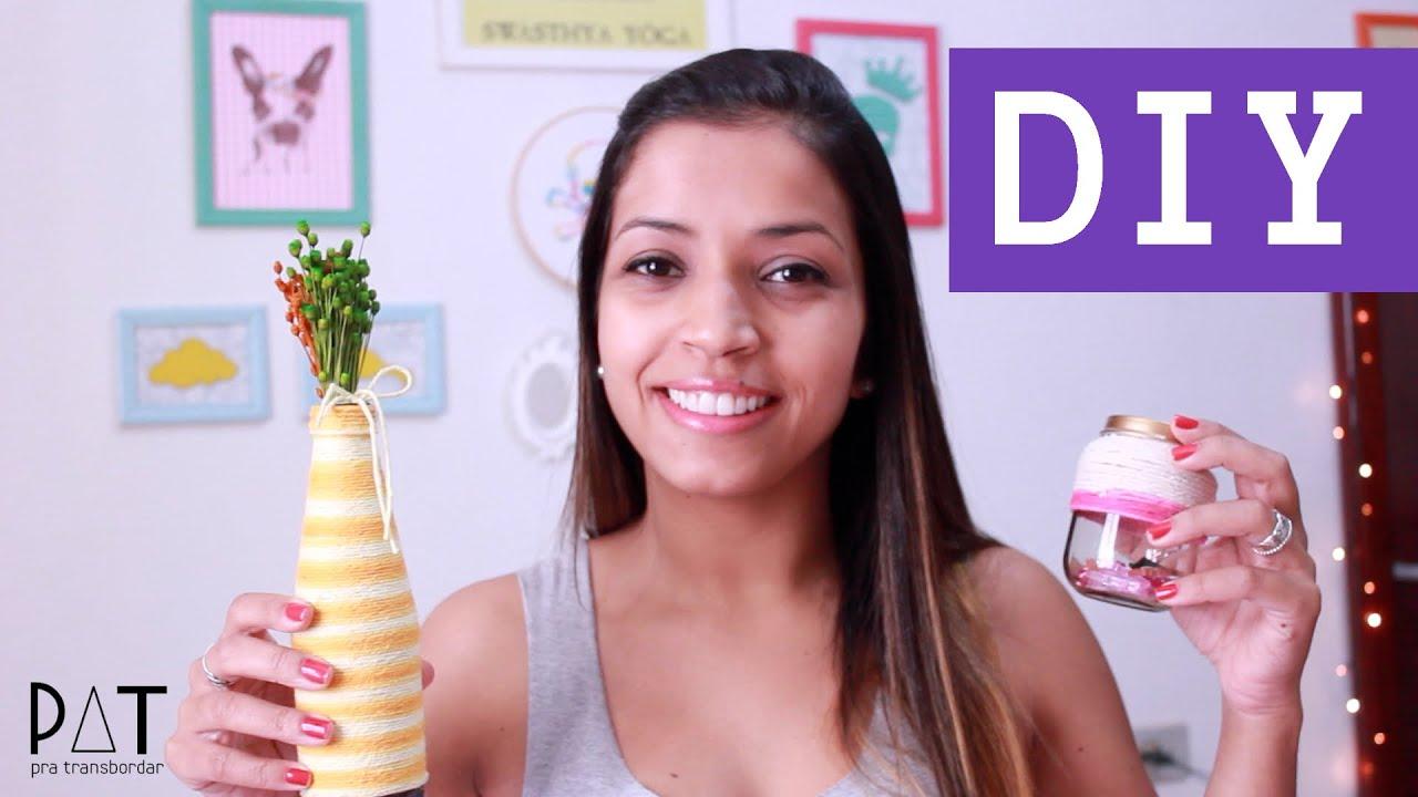 Garrafa decorada com barbante YouTube -> Decorar Garrafas De Vidro Com Barbante