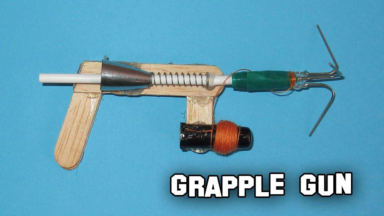 Como hacer una mini pistola o ballesta casera con ganchos - Como hacer una cachimba casera facil ...