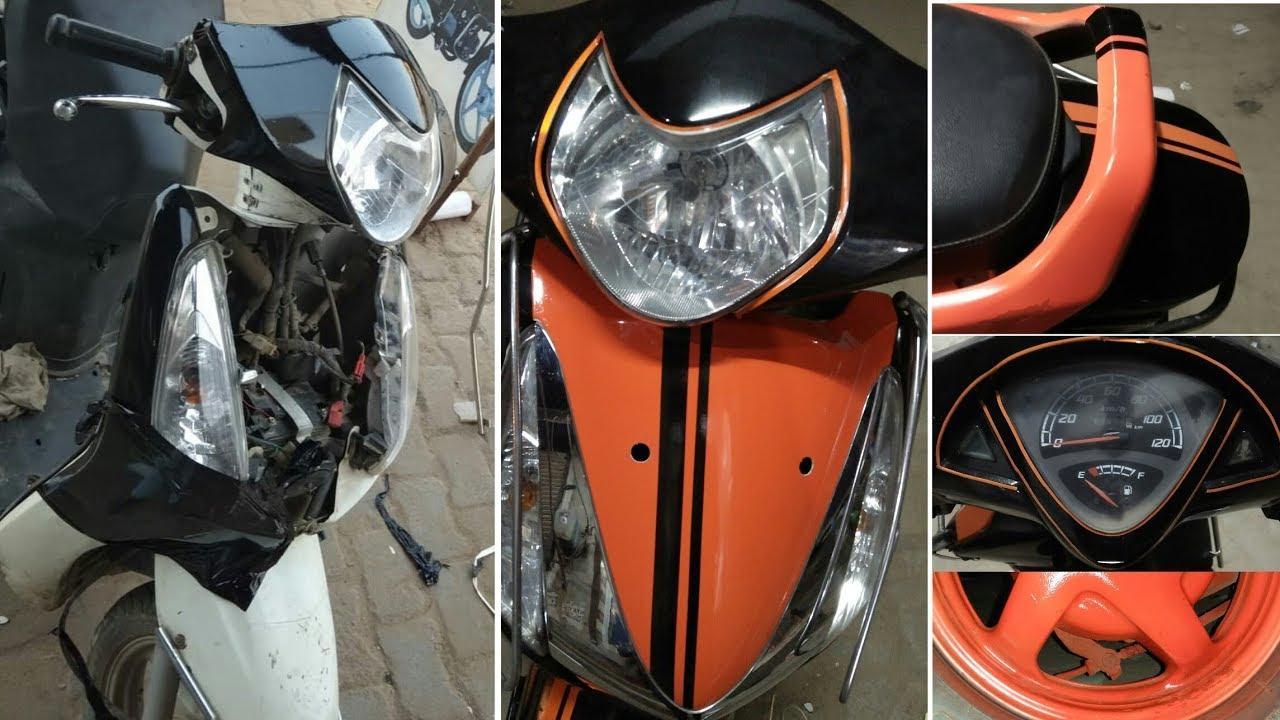 Modified aviator scooti white se black orange full video akram modifications