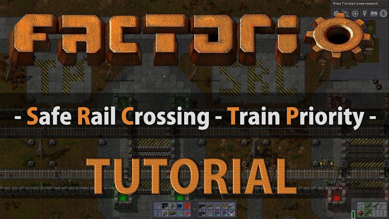 Factorio Tutorial - Safe Rail Crossing (Train Priority ) - Most