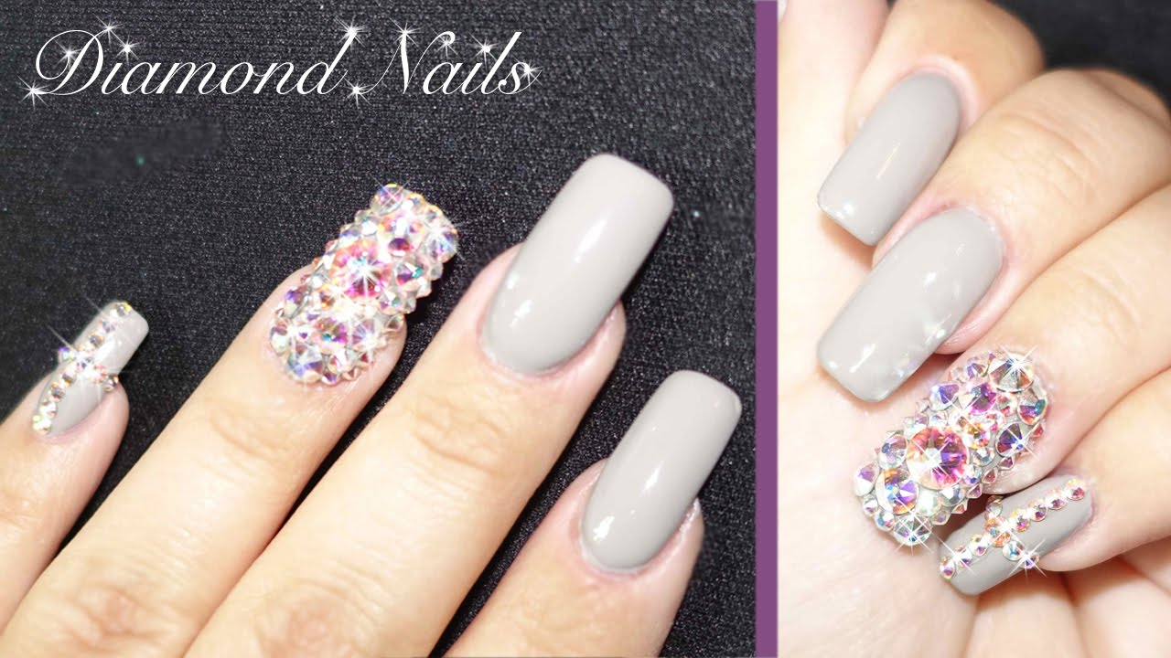 Neutral Diamond Nails - YouTube