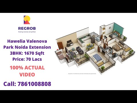 Hawelia Valenova Park |☎️7861008808 | Flats For Sale In Noida Extension | 3BHK 1670 Sft | Price 70 L