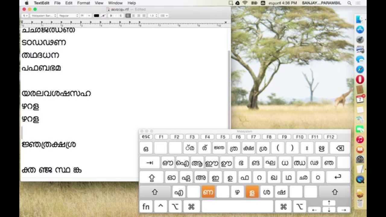 how to type in malayalam in mac