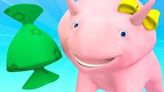 Lerne mit Dino - Dino und Dina lernen Zahlen mit Süßigkeiten - Lehrreiche Cartoons für Kinder  🚚