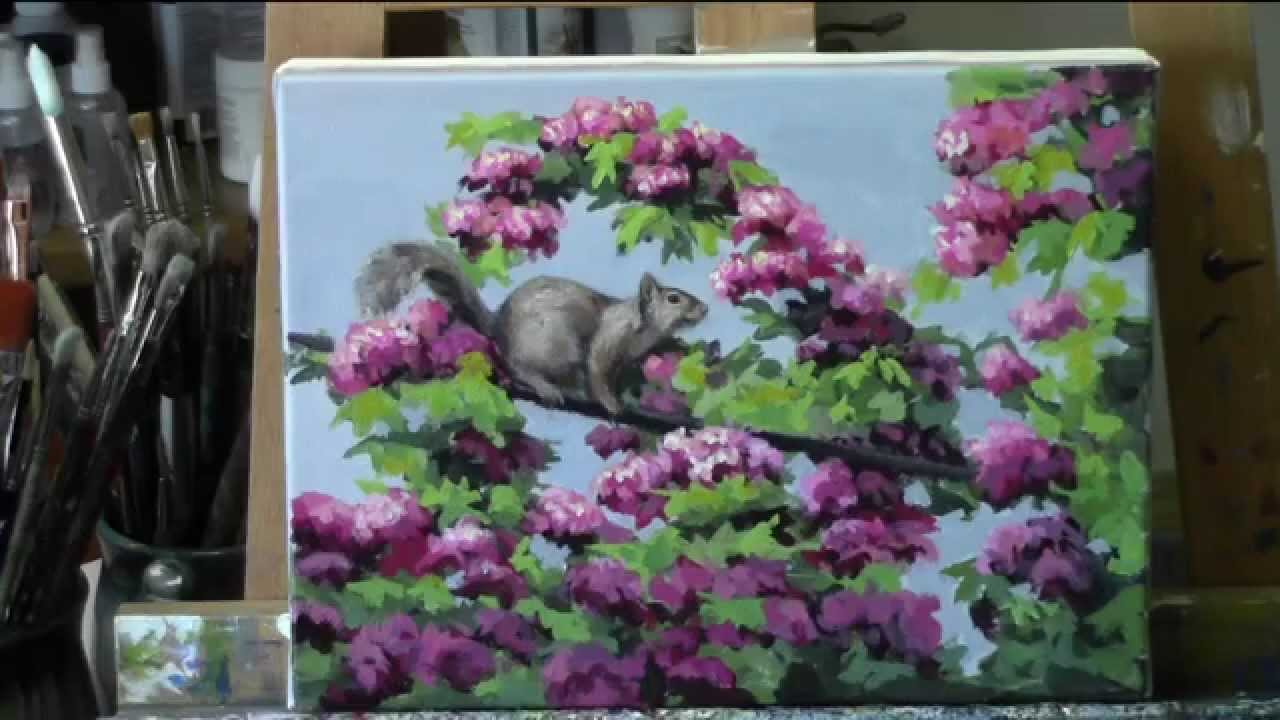 Acrylic Painting Tutorial Quot Squirrel In The Blossoms Quot Youtube