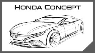 Concept Car Design Sketch | Honda Coupe | 5 Minute Drawing