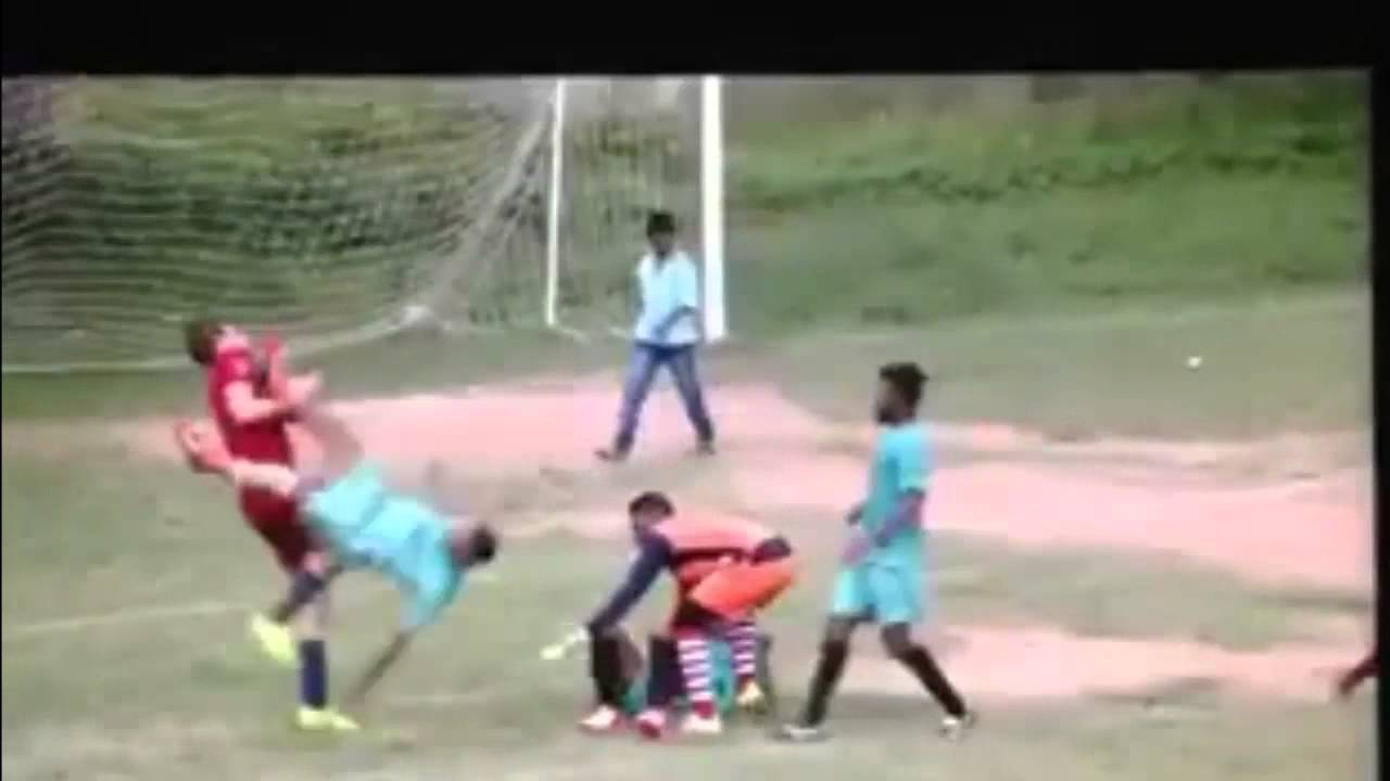 Soccer bully flattened by opponent's flying kick to the chest | For