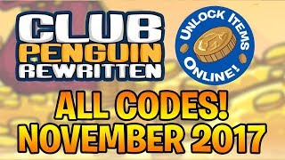 Club Penguin Rewritten - ALL ITEM CODES (Working November 2017)