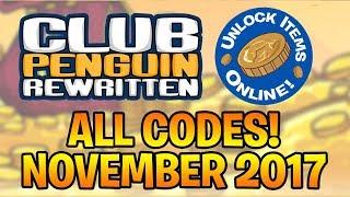 Club Penguin Rewritten - ALL ITEM CODES (Working November 2017)