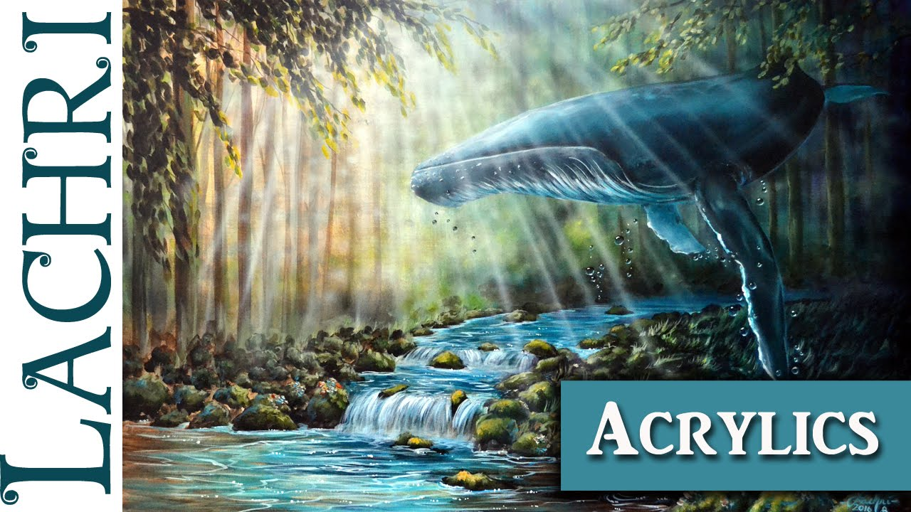 Acrylic Speed Painting Surreal Humpback Whale And Forest W