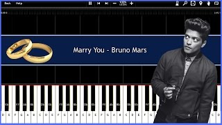 Marry You - Bruno Mars (Synthesia) (Subtitles) [Tutorial] [Piano Tutorial] [Download]