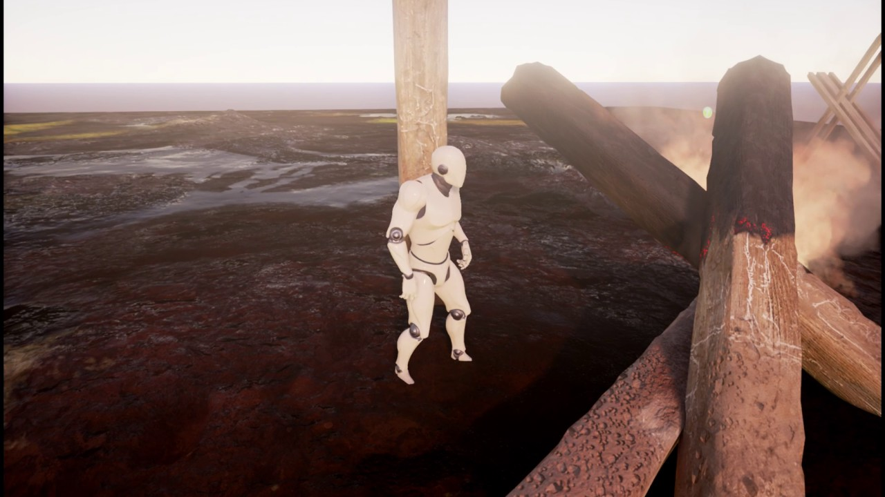 UE4 mud ground test (Mud Material,RenderTarget Interaction,ash-wood)