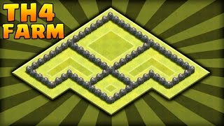 Clash Of Clans: New Town Hall 4 Farming Base (Best TH4 Farming Base) 2015