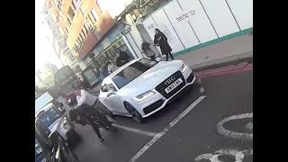 Repeat youtube video Driver vs Cyclist - Aggressive Driver/Passenger Assaults Cyclist in Farringdon - KW13 CWA