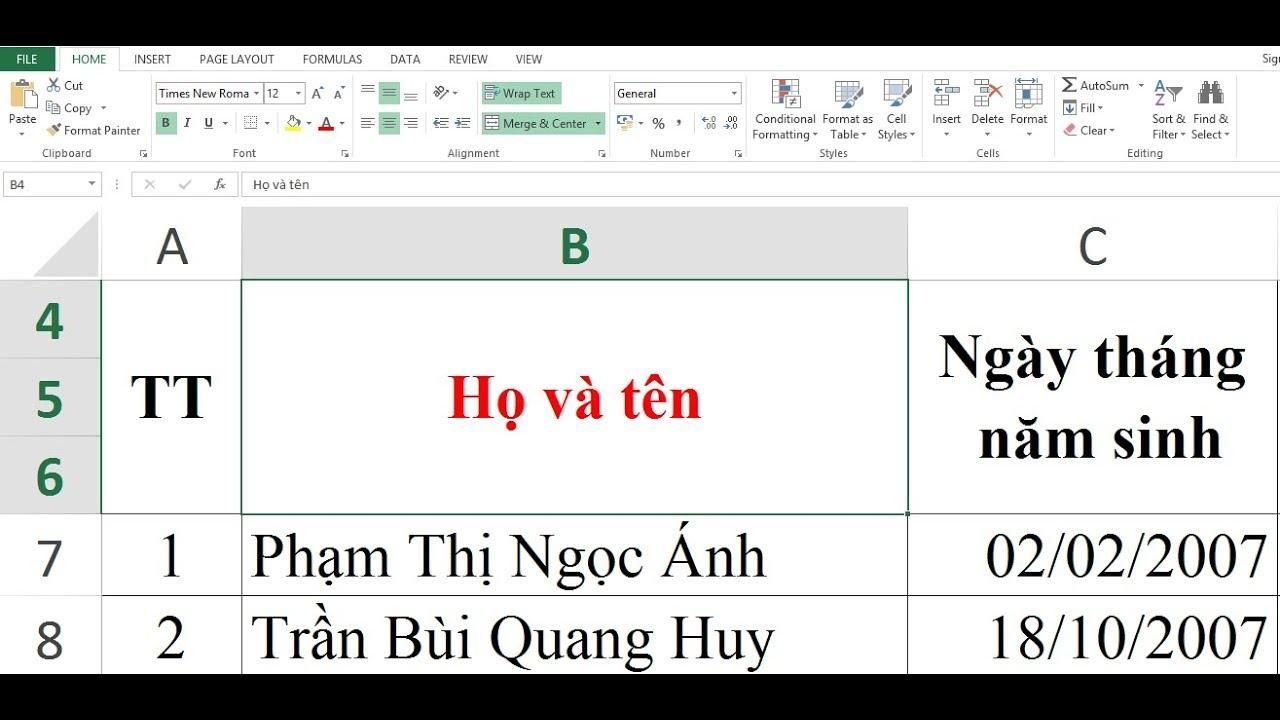 [Thủ thuật] sắp xếp họ và tên trong Microsoft Excel