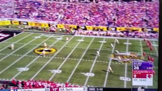 LSU running back Guice runs over a Louisville kicker during Citrus Bowl!