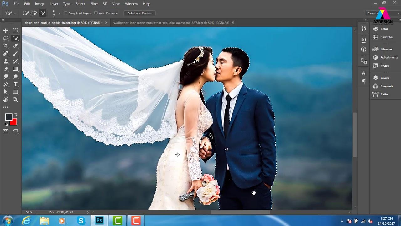 Photoshop Online , Hướng DẫnTách Voan Cô Dâu Cực Đỉnh Bên photoshop