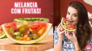 MELANCIA COM GELATINA DE FRUTAS DENTRO (super refrescante)