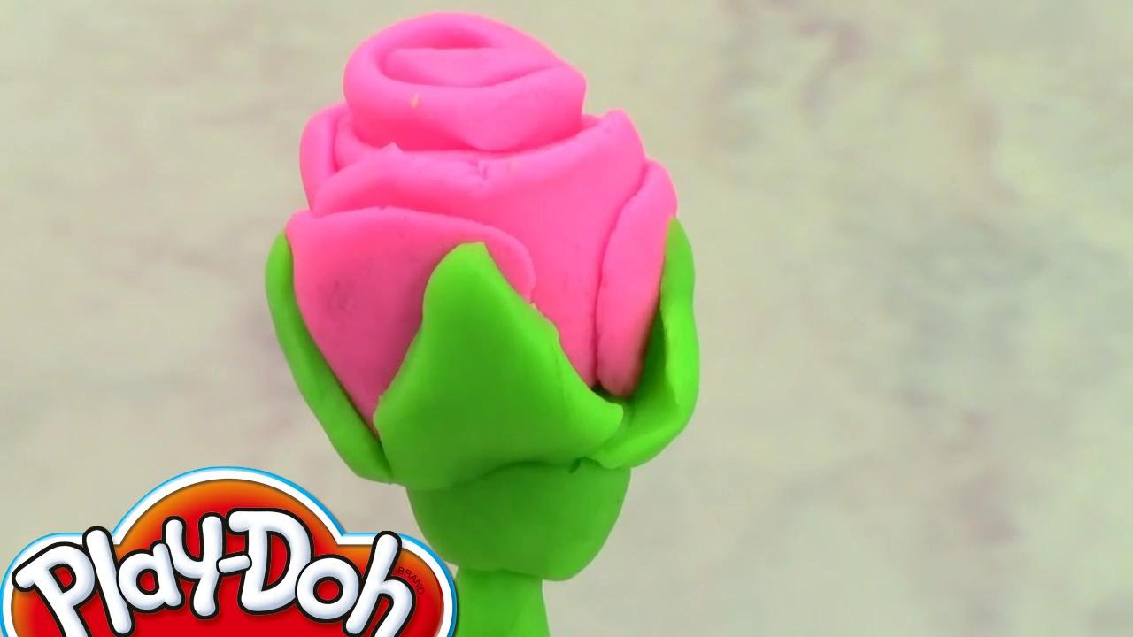 Видео как из пластилина сделать розу