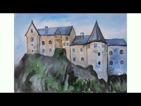 Уроки рисования. Как нарисовать средневековый замок акварелью   Art School