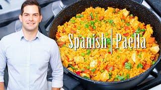 Paella Recipe Seafood Chicken & Prawns - Easy Prep & SUPER Tasty #Ad