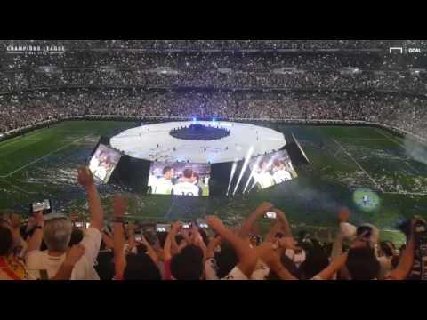Real Madrid fans celebrating in  Santiago Bernabéu Stadium