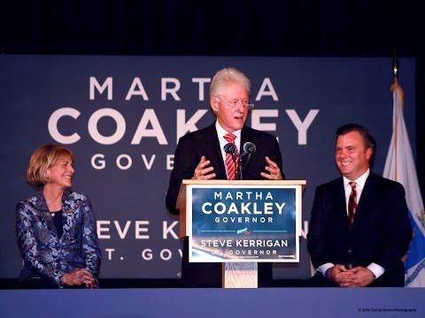 Bill Clinton stumps for Martha Coakley in Worcester, MA
