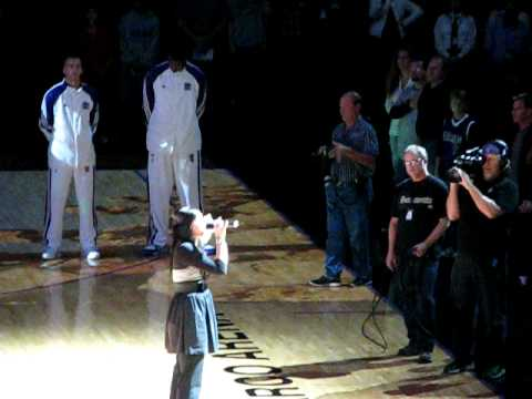 Taylor singing the National Anthem at Sacramento Kings NBA Game