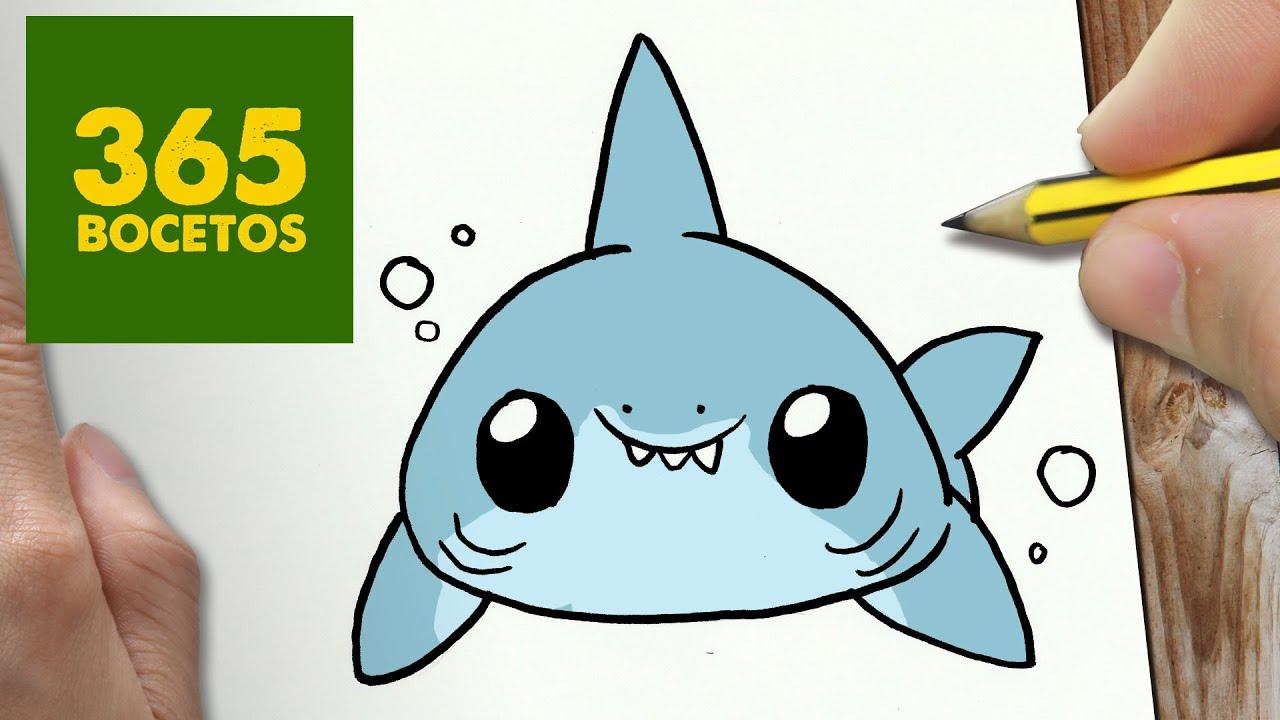 Como Dibujar Tiburon Kawaii Paso A Paso Dibujos Kawaii Faciles How To Draw A Shark