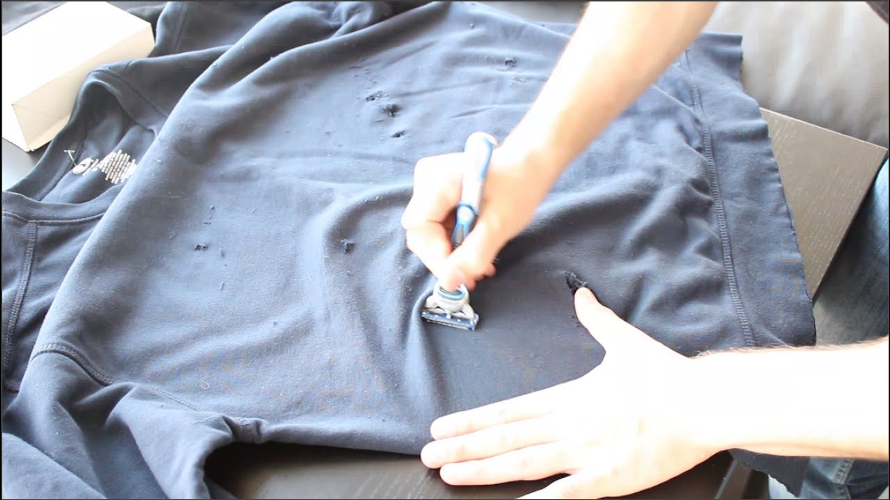Diy distressed crewneck sweater youtube for How to make a distressed shirt