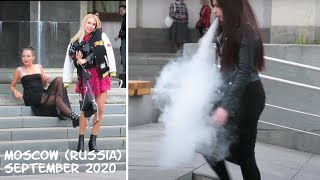 Walking Moscow (Russia): beautiful Russian girls in the city center. September 2020. No comment.