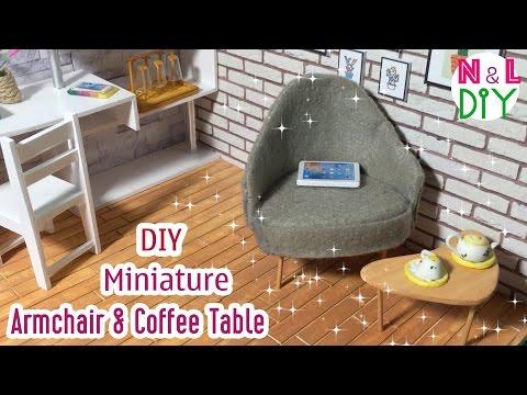DIY Miniature Armchair and Coffee Table | How to make an Armchair & Coffee Table for Dollhouse