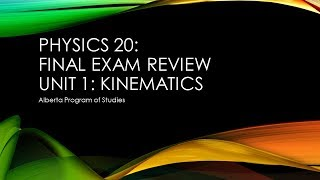 Physics 20: Final Eאam Review Kinematics 2018