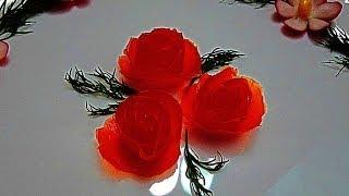 Роза из помидора. Цветы из помидор. Украшения из овощей. Flowers tomato. Decoration of vegetables
