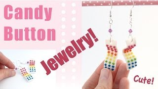 Candy Button Earrings in Polymer Clay!