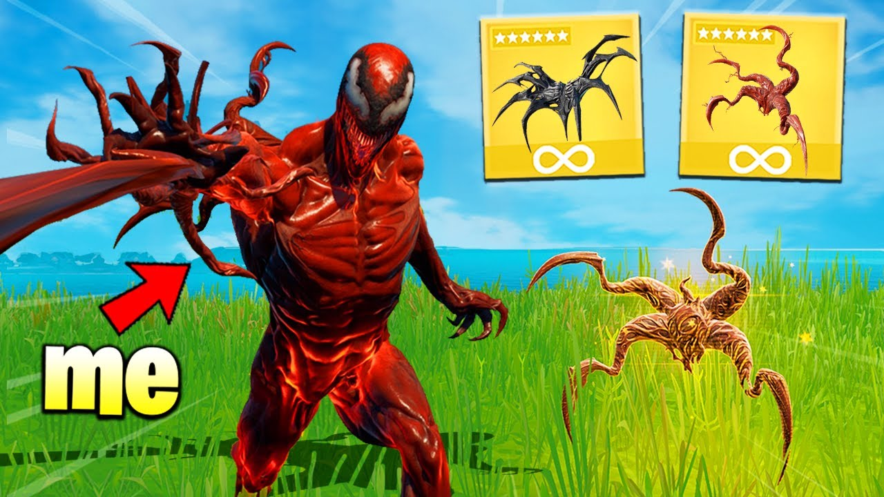 Fortnite except i only use CARNAGE MYTHIC... (overpowered)