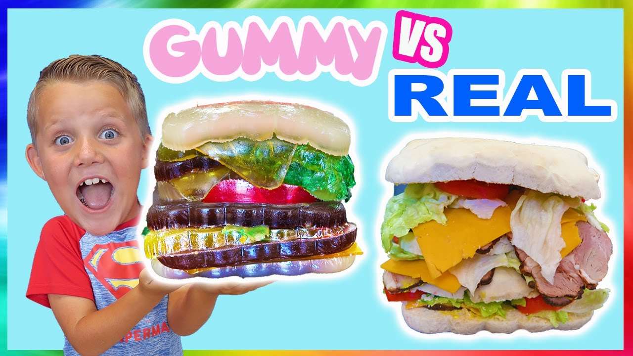 Jello Food Vs Real Food Switch Up Giant Sandwich Game