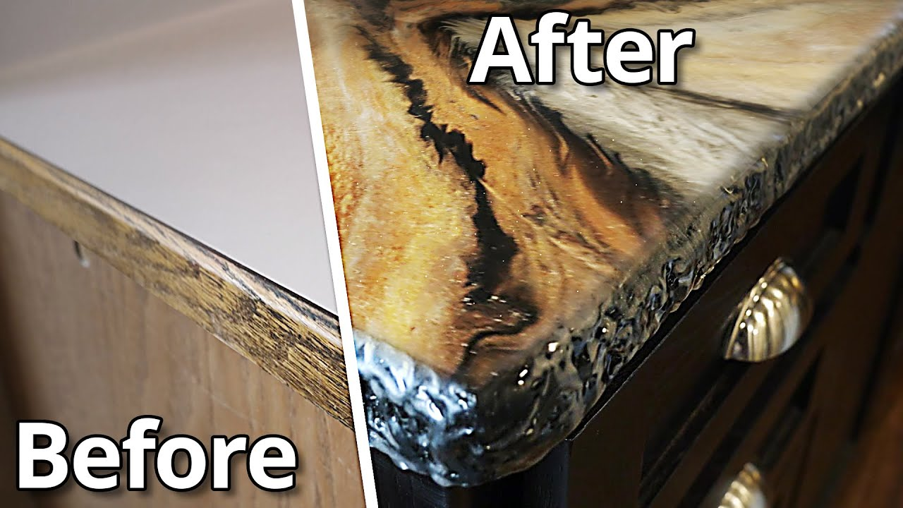 An AMAZING Epoxy Exotic Pour Over Kitchen Countertops   Stone Coat Countertops Epoxy