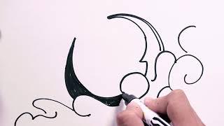 moon easy drawing dark draw drawings freehand follow getdrawings