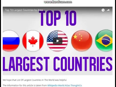 List Of Largest Countries In The World (Area Wise) Top Ten