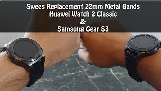 Swees Stainless Steel Metal Bands for 22mm Watch : Huawei Watch 2 Samsung Gear S3