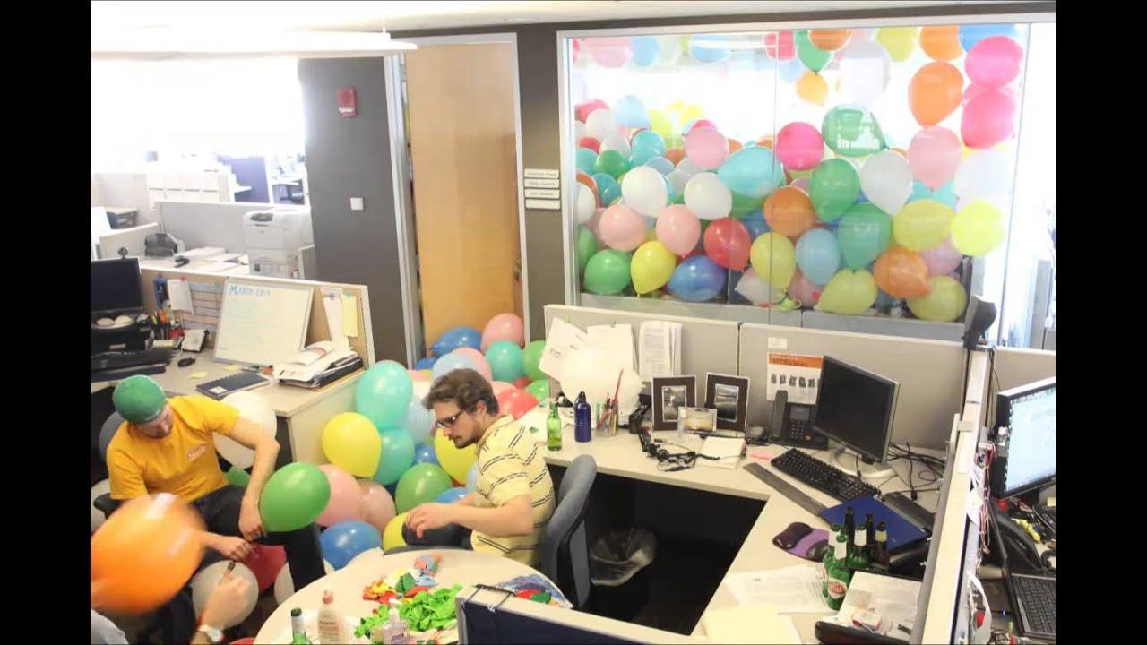 1152 Balloons Office Prank - YouTube