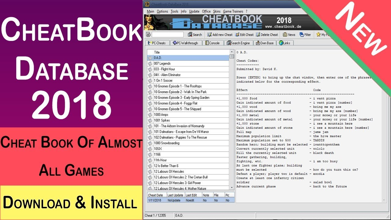 Game Cheat Book For Pc