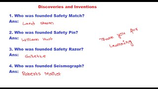 RRB EXAM PREPARATION IN TELUGU | Discoveries and Inventions | Who was founded Safety Match? 2017 Video