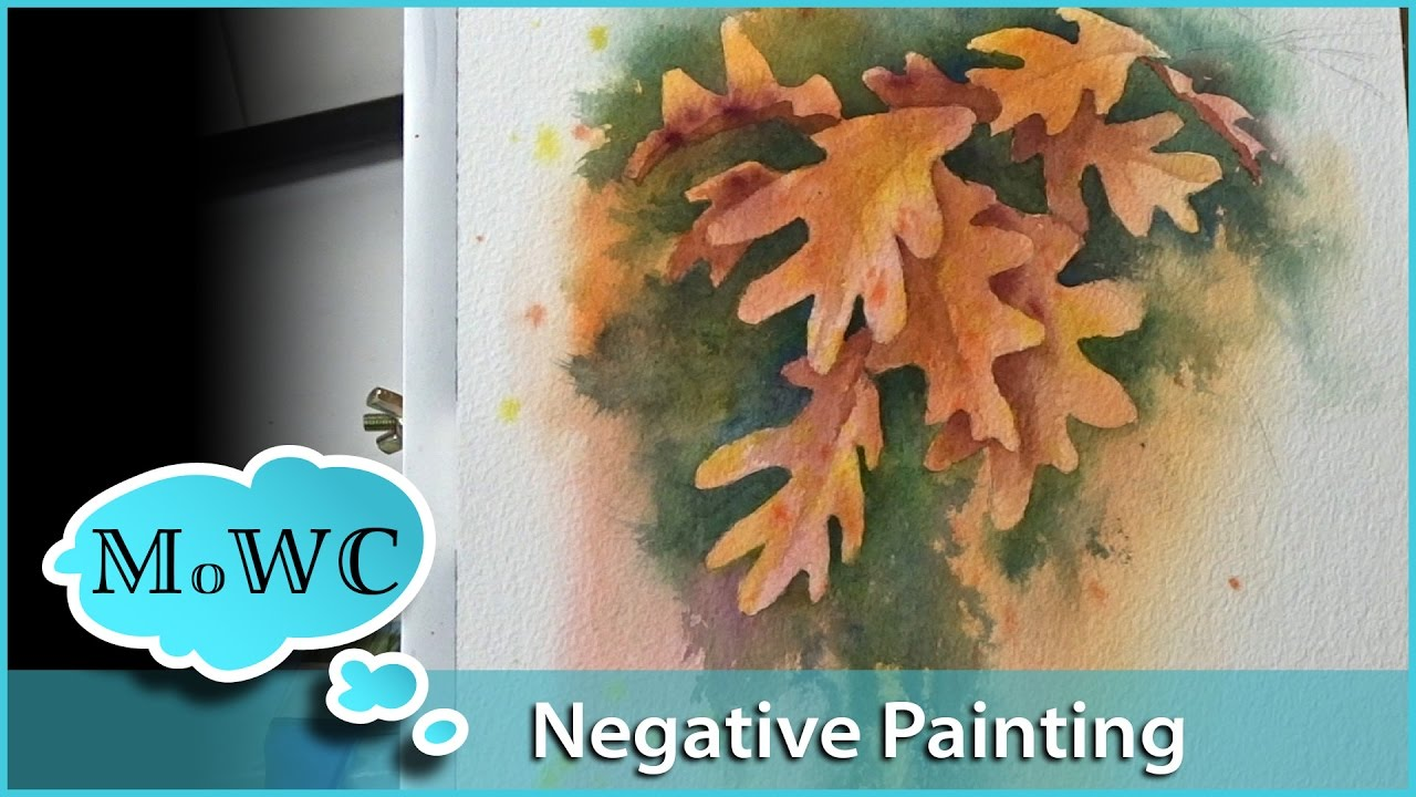 Negative Painting Leaves In Watercolor Youtube