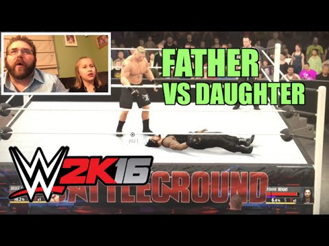 FATHER VS DAUGHTER WWE 2K16 Wrestling Match! Brock Lesnar Vs Roman Reigns PS4 Gameplay