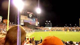 "Giants fans sing ""When the Lights Go Down in the City"" WITH Steve Perry - World Series Game 2"