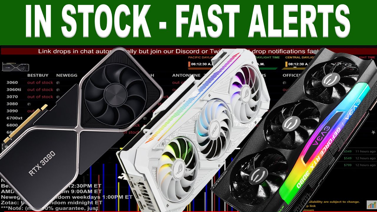 Download 24/7 Live stock alert for RTX 3060/TI/3070/3080/3090 6700/6800/XT/6900XT with sound for USA stores