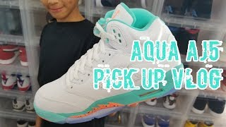 "Pick Up Vlog! Air Jordan Retro 5 ""Light Aqua"" GS!"
