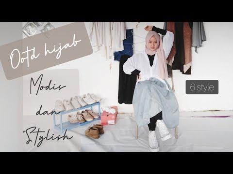 OOTD Hijab Modis dan Stylish   6 style ga ribet - YouTube